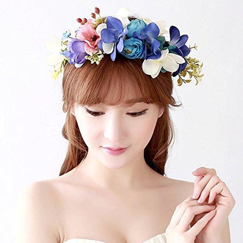 & Coiffe des fleurs de la Couronne Couronne de fleurs, Bandeau Fleur Garland Fête de mariée à la main à la main Fait bande Bandeau Bracelet Bande de cheveux couronne de couronnes de fleurs ( Couleur : A )