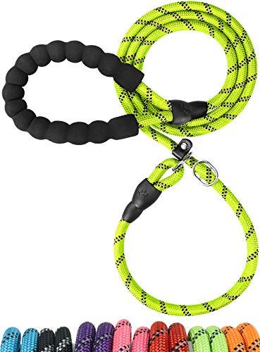 TagME Retrieverleine mit Zugstopp,Reflektierende Seilleine 185 cm Moxonleine,Weicher gepolsterter Griff,10mm für Mittlere Hunde,Grün