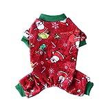 Feel-ling Ropa para Mascotas de Navidad, cómodo, cálido, Lavable a máquina, Pijamas para Perros, Mono, Abrigos, Ropa, Disfraz, Camiseta, Camisa Rojo/Verde
