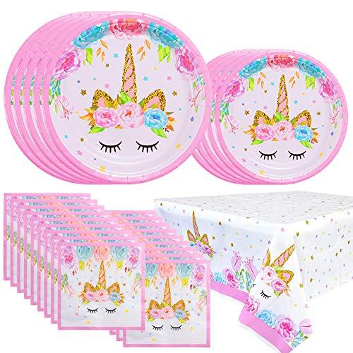 YANGTE Einhorn Geschirr Pappteller, Servietten und Tischdecken, Geburtstagsparty mit Einhornmotiv für Mädchen, Kinder, Baby-Dusche, Servieren Sie 16 Gäste