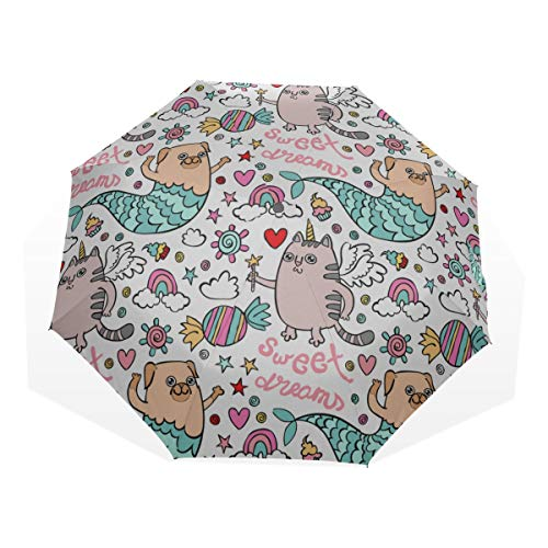 Ladies Umbrella For Rain Funny Dog With Mermaid Tail 3 Fold Art Umbrellas(outside Printing) Easy Folding Umbrella Kid Folding Umbrella Best Travel Umbrella