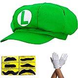 thematys Gorro de Super Mario para adultos y niños, en 4 guantes y 6 barras adhesivas, perfecto para carnaval y cosplay (1 verde + 1 par de guantes + 6 cintas adhesivas)