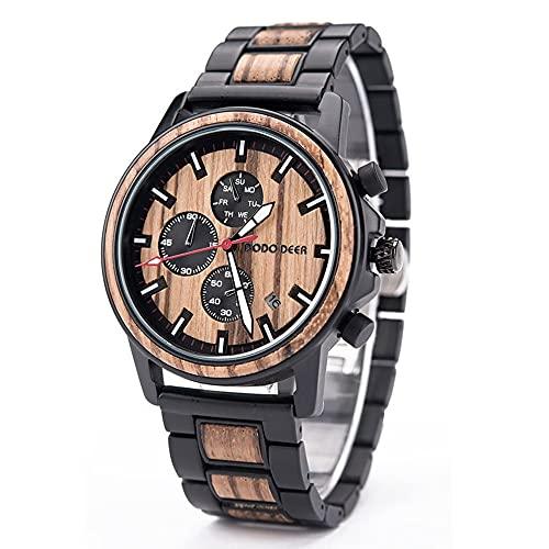 Relojes de negocios for hombres Material de acero de madera Material de la salud natural Relojes de madera de los hombres Hecho a mano por diseñadores Movimientos cuarzo importados japoneses regalos