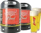 Pack 2 fûts de bière 6 litres Perfectdraft - 2 verres associés (Bud + 2 verres Bud - 33 cl)