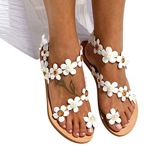 Liamostee 1 Paar Frauen Sandalen B?hmen Blume Flache Schuhe Atmungsaktive Mode f¨¹r Sommer Strand