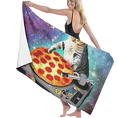 Badetuch Wickeln Dj Cat Pizza Prints Spa-Dusche und Wickeltuch 130 * 80 cm (52 x 32 Zoll) Bademantel Cover Up für Unisex