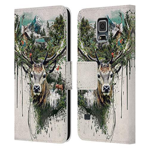 Head Case Designs Ufficiale Riza Peker Cervo Vita Selvaggia Animale Astratto Cover in Pelle a Portafoglio Compatibile con Samsung Galaxy S5 / S5 Neo