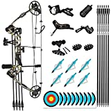 """evercatch Compound Hunting Target Bow Kit   USA Gordon Limbs   Fully Adjustable 24.5-31"""" Draw 30-70LB (Camo Right Handed)"""
