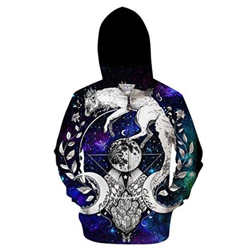 Moon Child Blanket par Cold Art 3D Animal Zip Sweat À Capuche Hommes Zipper Sweat À Capuche Décontracté Sweat Pull ZIP414 XL
