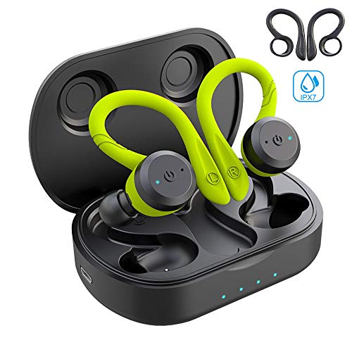 Sport Ergonomic Design Headphones APEKX True Wireless Bluetooth 5.0 Sports Earbuds, IPX7 Waterproof Stereo Sound, Built-in Mic Earphones,Supporting Wireless Charging(Black)