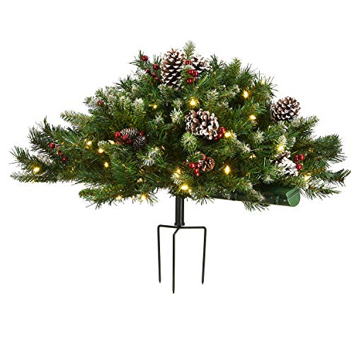 "National Tree Company 33"" Frosted Berry Urn Filler with Battery Operated LED Lights, Green"