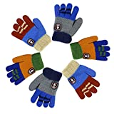 RARITY-US (3 Pairs) Unisex Warm Soft Winter Knit Gloves for Kids Boys Girls Baby Glove with Stripe Mittens (2 to 7Y)