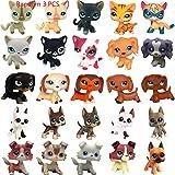 LPSUS LPS Cat and Dog (Random 3 PCS Pets & Free 6 PCS Accessories) Figures Collection Boys Girls Kids Gift Set