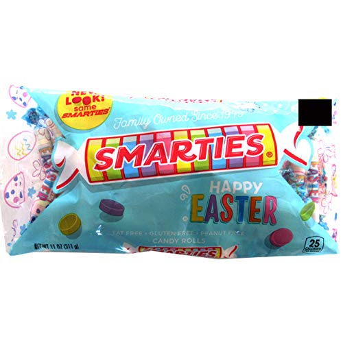 Smarties (1 bag) Happy Easter Candy Rolls - Fat Free, Gluten Free, Peanut Free - 11 oz / 311 g