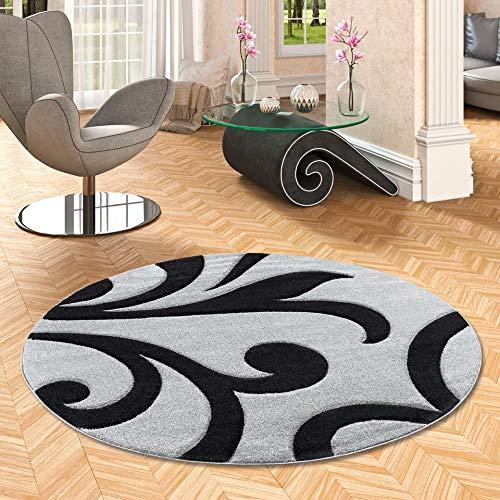 Pergamon Maui - Tapis de Designer - Motif Baroque - Gris Noir - Rond - 3 Tailles
