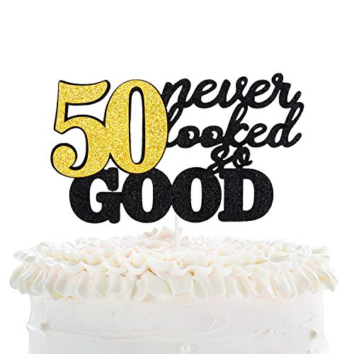 50 Never Looked So Good Happy Birthday Cake Topper - Black Glitter Fabulous Fifty Years Anniversary Cake Décor - Cheers To Successful Man Women 50th Birthday Party Decoration