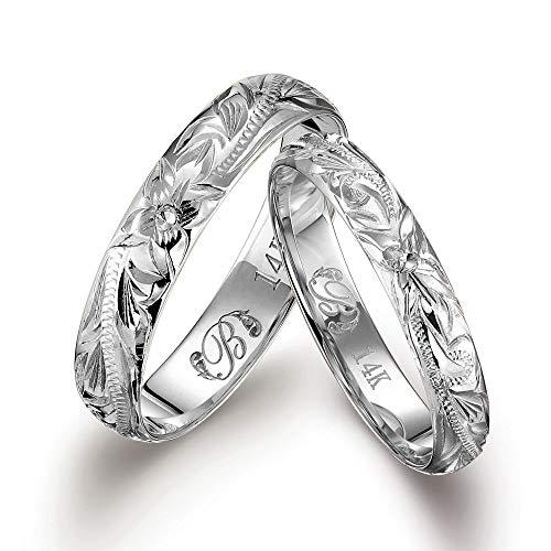 ハワイアンジュエリー ペアリング K14ホワイトゴールド 指輪 2個セット 【4mm幅:7号】【3mm幅:4号】 GMR1013-1020P-PRIME