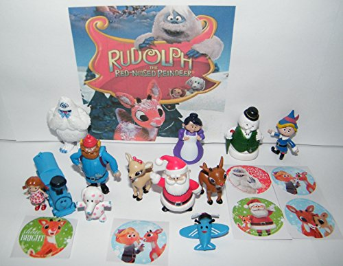 Holiday Rudolph The Red Nosed Reindeer Deluxe Figure Set of 18 Toy Kit with 12 Fun Figures and 6 Special Stickers Featuring Rudolph, Santa, Bumble, Misfit Toys and Much More!