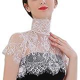 Sexy False Collar Lace for Women Girl Flower Black White Half Shirt Fake Collar Choker Tie (Style 2 White)