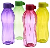 Tupperware Aquaslim Water Bottle Set, 500ml, Set of 4 (B.5L) Colors May Vary