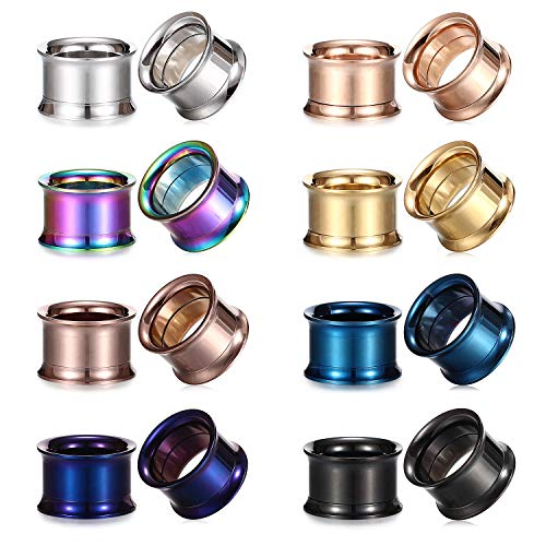 Kangyijia 8 Pairs 00G (10mm) Ear Gauges Tunnels Plugs Stainless Steel Screwed Flesh Tunnels Stretcher Piercing Set
