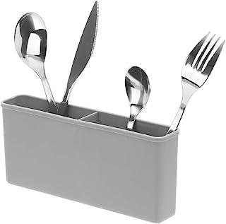 SANNO Plastic Black Utensil Silverware Storage Holder Caddy,Fit Kitchen Sink Drying Rack, Microfiber Dish Mat, Dish Drying...