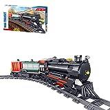 Oeasy Juego de construcción de tren de vapor con raíles de construcción, 890 bloques de sujeción, tren de vapor, juguete de construcción compatible con Lego