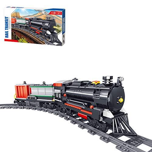 OATop 536 Teile City Güterzug Dampfeisenbahn Baustein Modell, City Zug mit Schienen Bauset Kompatibel mit Lego