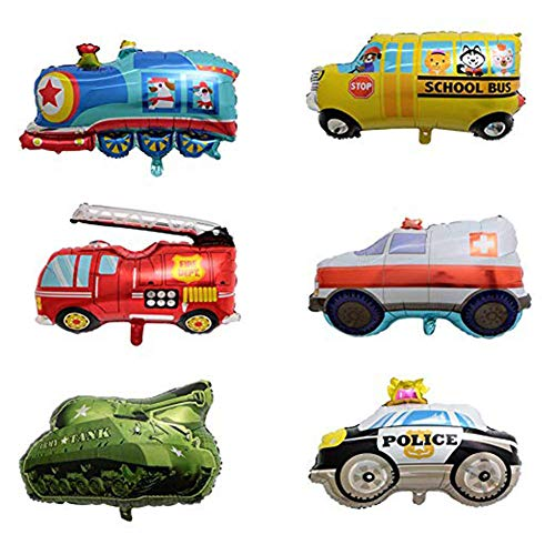 AnnoDeel 6pcs Car Balloons, Large Train Ambulance Police Car School Bus Fire Truck Tank Foil Balloons Vehicles Balloons for Kids Birthday Party Supplies Cute Baby Shower Decorations