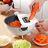 DERGH Mandoline Slicer Professional Kitchen Slicer 9 in 1 Drehbarer Gemüseschneider mit Ablaufkorb...