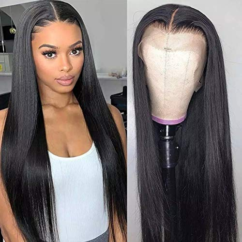 """RUIYU Perruque Femme Perruque Cheveux Humain 13x4x1 Perruque Lace Front Cheveux Naturels T Human Hair Lace Wig Perruque Bresilienne Lisse Naturels Noir Nature 12"""" (30.48 cm, T part straight wig)"""