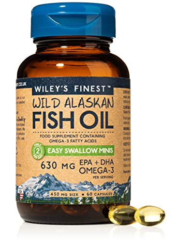 Wiley's Finest Easy Swallow Minis 630mg EPA + DHA Omega-3 Natural Wild Alaskan Fish Oil Food Supplement 60 Capsules
