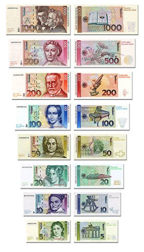 DM Geldscheine 1991, von 5 bis 1000 Mark, TOP Reproduktion, BRD