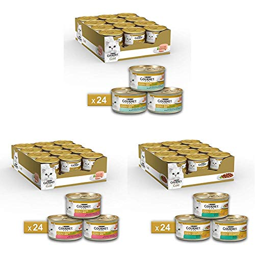 Gourmet Gold Purina Umido Gatto Mousse e Doppio Piacere, 3 Gusti Diversi (Merluzzo e Delicate Carote, Trota e Deliziosi Pomodori, Coniglio e Fegato):