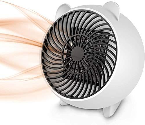 Justup Calefactor de aire caliente, mini ventilador eléctrico portátil con elemento calefactor cerámico PTC y protección contra sobrecalentamiento, para oficina, hogar, mesa, interior (blanco)
