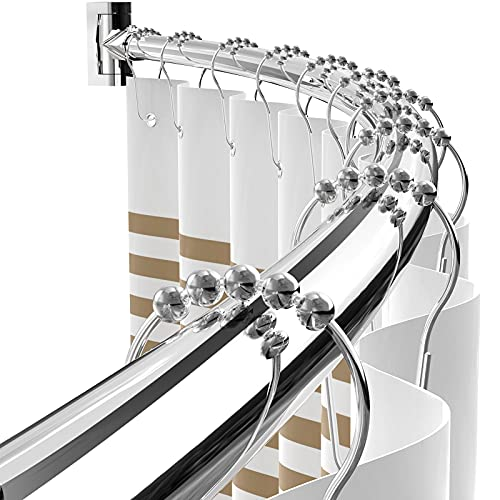 Adjustable Curved Shower Curtain Rod Rustproof Expandable Aluminum Metal Shower Rod 38-72 Inches Telescoping Design Exquisite Customizable for Bathroom,Chrome