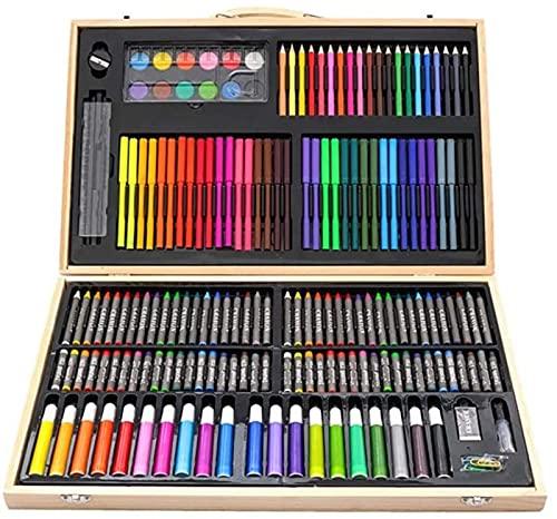 YUIOLIL Juego de Pinceles de Pintura 180PCS Juego de lápices de Colores al óleo Sketch Soft Core Suministros de Arte Profesional para Adultos Artista Dibujo para Colorear con Estuche portátil