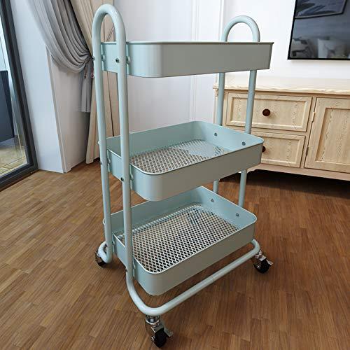 SAYZH 3 Tier Rolling Cart Metal Craft Storage Organizer with wheels Green