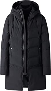 Men's Packaged Down Quilted Puffer Jacket with Hooded Compressible Long Trench Thicken Coat Warm Windproof Overcoat