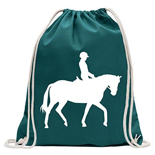 KIWISTAR - Pferdesport Springreiten Turnbeutel Fun Rucksack Sport Beutel Gymsack Baumwolle mit Ziehgurt