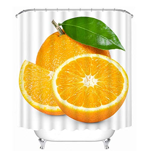Cortinas de Ducha Modernas Cortina baño Tela Impermeable Antimoho con Shower Curtain de Fibra Poliéster Resistente al Moho con Diseño de Dobladillo Ponderado Fruta Naranja 180x180 cm