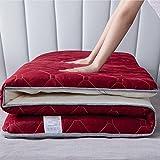 Colchón De Rollito Plegable, Colchón De Piso Japonés Futon Tatami Colchón De Dormir Almohadilla,Rojo,150x190cm