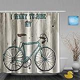 MTevocon Cortinas de Ducha,Quiero Montar mi Bicicleta Imagen de Bicicleta Azul en Madera rústica, Cortina de Baño Material de poliéster Resistente al Agua con Ganchos 180 * 180cm