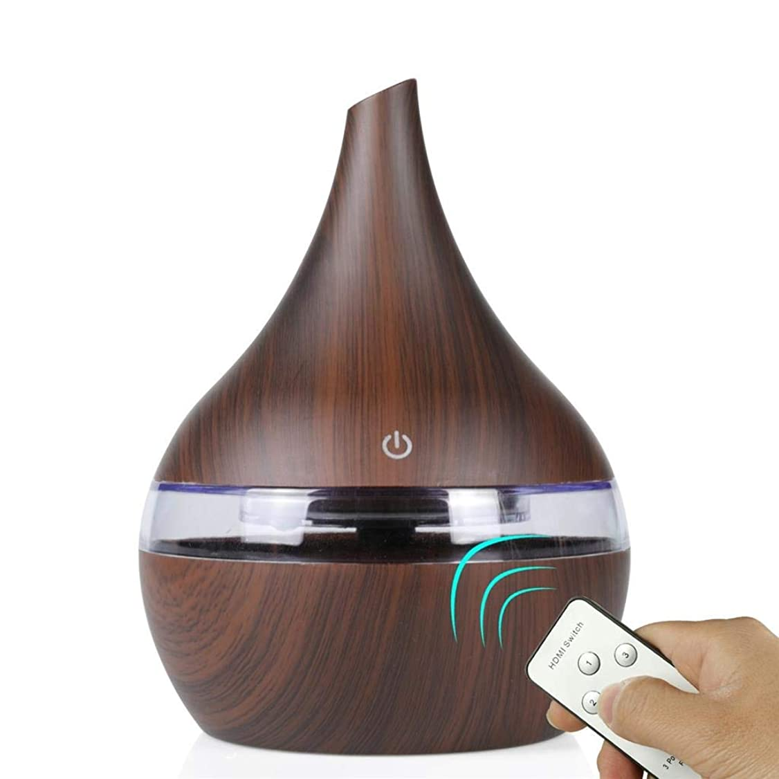その後悲しいポータル超音波式 アロマ加湿器 搭载防空烧功能 ミスト アロマ フレグランス 癒し リラックス 調光 LED 寝室 (Color : Dark wood)