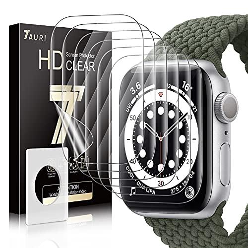 TAURI 6 Stück Schutzfolie Kompatibel Mit Apple Watch Series 6 40mm TPU Folie Blasenfreie Klar HD Weich Bildschirmschutz Kompatibel mit Hülle Für iWatch 40mm