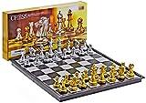 Guuisad Interior, Checkers Conjunto de ajedrez plegable Pieza de ajedrez magnético de plástico Juegos de mesa de ajedrez de ajedrez portátil juego de ajedrez de cumpleaños (color: negro, tamaño: 36 cm