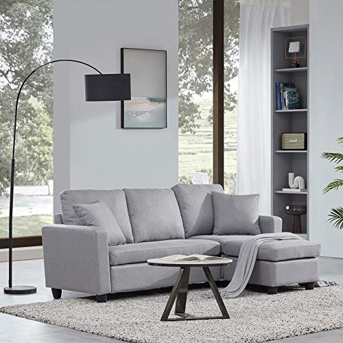 BELLEZE Altera Convertible Sectional Sofa, Modern Linen Fabric L Shaped Couch 3-Seat with Reversible Chaise for Small Space, Gray