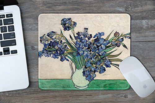 dealzEpic - Art Mousepad - Natural Rubber Mouse Pad with Famous Fine Art Painting of Irises in White Vase 1890 by Vincent Van Gogh - Stitched Edges - 9.5x7.9 inches Photo #2