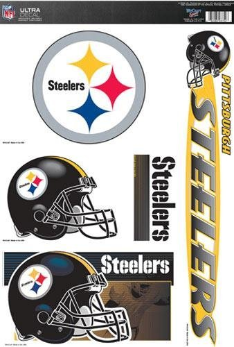 Pittsburgh Steelers SET OF 5 TEAM LOGO ULTRA DECAL CLING NFL Team Accessories