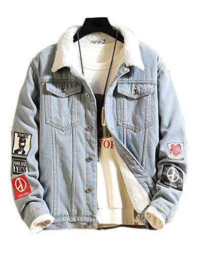 Lavnis Men's Denim Distressed Jacket Casual Button Down Trucker Jacket Jean Coat (L, Thicken Blue)